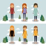 Winter people with two scenes of women with sweaters and winter clothes in landscape with snow and pine trees in. Colorful silhouette vector illustration Stock Image