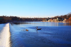 Winter in Philadelphia. Nature bacground - River embankment Royalty Free Stock Photos