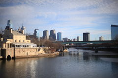 Winter in Philadelphia. Nature bacground - River embankment Royalty Free Stock Images