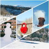 Winter photo collage of a snowman, Smoking chimney, the red padlock in the shape of a heart, riding on a sleigh of children and wi royalty free stock photos