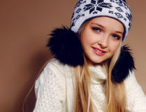 Winter photo of cute little girl with long blond hair Royalty Free Stock Images