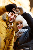 Winter photo of happy couple Royalty Free Stock Photography