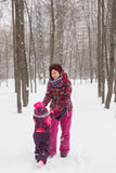 Winter photo of mother ,baby Royalty Free Stock Images