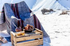 Free Winter Picnic In Chilean Argentine Snow Mountaines Andes With Hot Meat Food And Drink Yerba Mate. Stock Images - 126258104