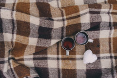 Winter picnic on the snow. Hot tea, thermos and snowball heart on cozy warm blanket. Outdoor seasonal activities Royalty Free Stock Image