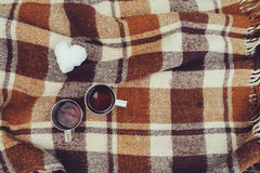 Winter picnic on the snow. Hot tea, thermos and snowball heart on cozy warm blanket Stock Photography
