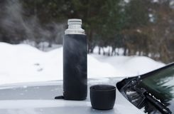 Winter picnic tea on the hood of the machine against the backdrop of the forest royalty free stock image