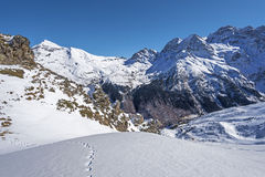 Winter picture of Cirque de Gavarnie seen from Pahule Pic Stock Photo