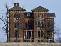 Duncan Mansion. This is a Winter picture of the historic William R. Duncan Mansion located in Towanda, Illinois in McLean County.  This three-story brick mansion Royalty Free Stock Image