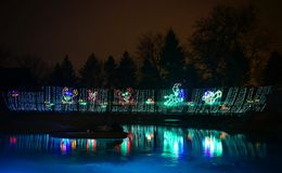 Lincoln Park Zoo Zoolights #4. This is a Winter picture of a holiday exhibit at the iconic Lincoln Park Zoo Zoolights located in Chicago, Illinois in Cook County stock photos