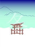 Winter picture in japanese style. With mountains and gates Stock Photos