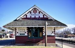 Marseilles Depot. This is a Winter picture of the Marseilles Chicago, Rock Island, and Pacific Depot located in Marseilles, Illinois in LaSalle County.  This Stock Images