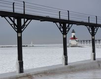Michigan City Breakwater Lighthouse #1. This is a Winter picture of the Michigan City Breakwater Lighthouse on Lake Michigan as seen through the walkway royalty free stock photo