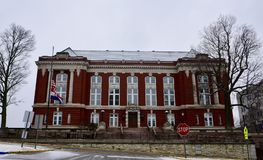 Missouri State Supreme Court Building in Falling Snow. This is a Winter picture of the Missouri State Supreme Court Building in falling snow located in Jefferson royalty free stock photo