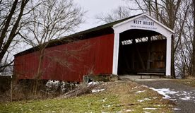 Neet Bridge. This is a Winter picture of Neet Bridge over the Big Raccoon Creek located in Rockville, Indiana in Parke County.  This 144 foot long wooden covered Royalty Free Stock Images
