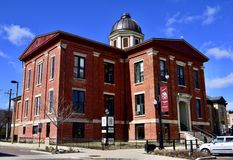 Old McHenry County Courthouse. This is a Winter picture of the Old McHenry County Courthouse located in Woodstock, Illinois in McHenry County.  This two-story Stock Photo