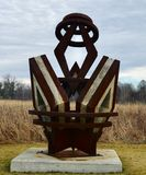 Diamonds are Forever. This is a Winter picture of a piece of public art titled: Diamonds are Forever, on exhibit at the Wendell Sculpture Garden in Meadowbrook stock photography