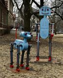 Metro & Orbit. This is a Winter picture of a piece of public art titled: Metro & Orbit, on exhibit in Lincoln Park located in Chicago, Illinois in Cook County stock photo