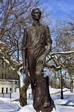 Lincoln, The Railsplitter. This is a Winter picture of the public art sculpture titled: Lincoln, The Railsplitter, located in Garfield spark in Chicago, Illinois stock image