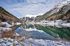 Winter picture of Pyrenean Fabreges lake in Ossau Valley Stock Images