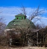 Abandoned Corn Crib. This is a Winter picture of the ruins of an abandoned corn crib and outbuilding on the remains of a repurposed farm located in Elburn stock image