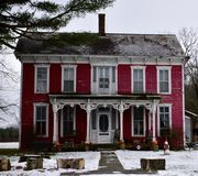 Rural Farmhouse. This is a Winter picture of a rural farmhouse located in the outskirts of Bridgeton, Indiana in Parke County.  This two-story framed house is an Stock Images
