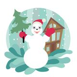 Winter picture. Snowman holding a christmas tree. On the background of the house and drifts royalty free illustration
