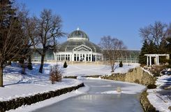 Conservatory on a Hill. This is a Winter picture of a snowy scene of the historic Marjorie McNeely Conservatory on a Hill overlooking a frozen pond and snow royalty free stock photos