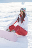 Winter picture of sports brunette Stock Image