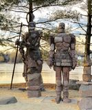 Rockford Golems. This is a Winter picture of two of the four golems titled the Rockmen Guardians located in Rockford, Illinois in Winnebago County.  These 12 Stock Photo