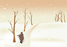 Winter picture with a wind. Snow and the lonely man vector illustration
