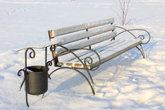 Winter Pictures : snow covered bench - Stock photos Royalty Free Stock Photo