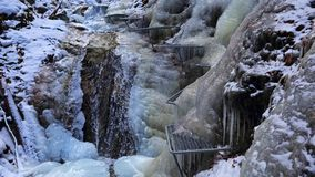 Winter in Piecky gorge , Slovensky raj National park , Slovakia. Winter variant of hiking path in Piecky gorge in Slovensky raj National park  Slovakia Royalty Free Stock Photos