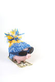 Winter piggy bank with hat with pom-pom standing on skies of greenback hunderd dollars with sunglasses. On white background Royalty Free Stock Photos