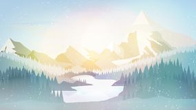 Winter Pine Forest with Mountain Lake- Vector Illustration stock illustration