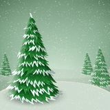 Winter pine tree covered with snow, in winter landscape. Winter pine tree covered with snow, in cold winter landscape. Vector illustration for December season Royalty Free Stock Image
