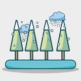 Winter pine trees with cloud snowing. Vector illustration Royalty Free Stock Photography