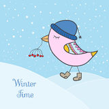 Winter pink bird Royalty Free Stock Image
