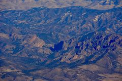 Pinnacles national park machete Ridge aerial photo. Winter at Pinnacles National Monument - drought conditions California Soledad United States USA photo Royalty Free Stock Images