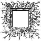 Winter Outline Frame. Winter plants with birds frame. Nature square black and white composition for greeting cards, mock ups, coloring page and covers with text Stock Photos