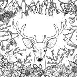 Winter Outline Pattern with Deer and Birds Stock Images