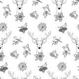 Winter Outline Seamless Pattern with Deer and Birds Royalty Free Stock Photography
