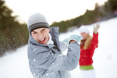 Winter play Stock Images