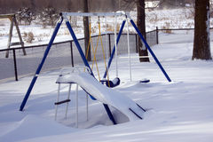 Winter Playground Swingset Equipment Stock Photo