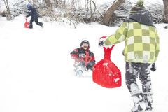 Winter fun on the playground royalty free stock photography