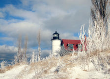 Winter Point Betsie Lighthouse in Michigan Royalty Free Stock Image