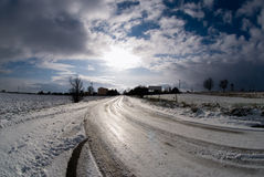 Winter in Poland. Sky reflecing in snow and Ice stock images