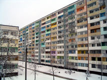 Winter in Poland. Blocks of Polish apartments in the depth of winter Royalty Free Stock Photos