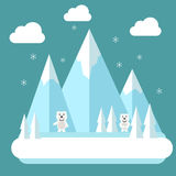 Winter polar flat landscape. Mountain resort concept scene. Winter time landscape in flat design with polar bears, mountains, tree Stock Photography