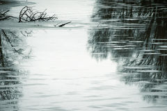 Winter pond. The photograph of a pond in the winter with a glassy surface stock photos